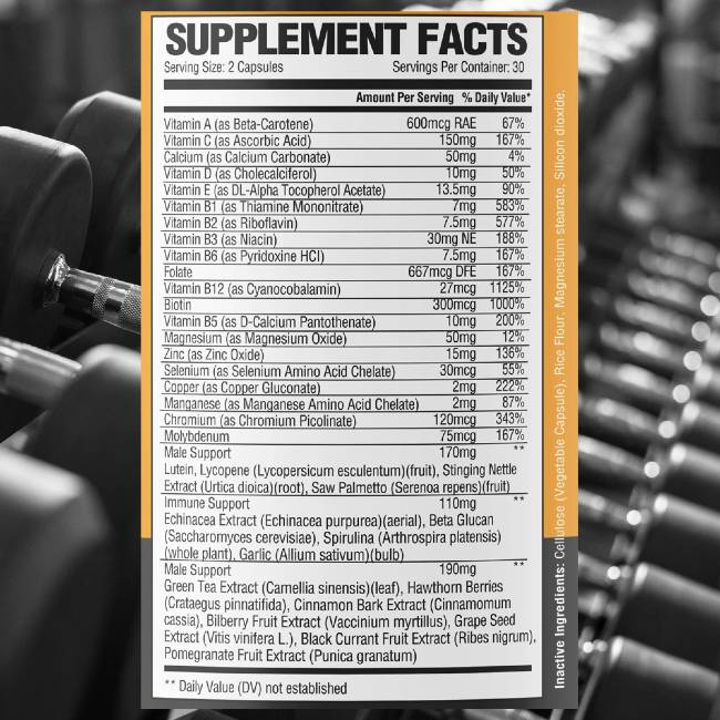 National Bodybuilding Co Multivitamin Ingredients