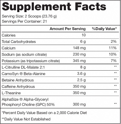 Legion Pulse Ingredients Label