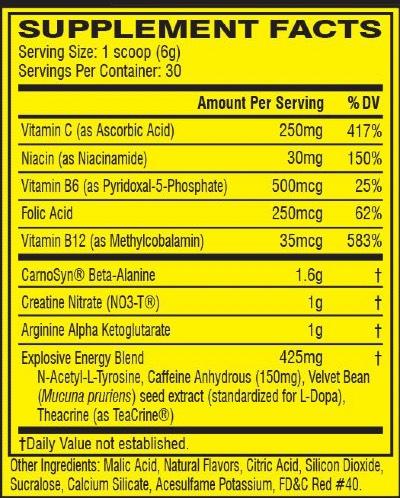 Cellucor C4 Ingredients Label