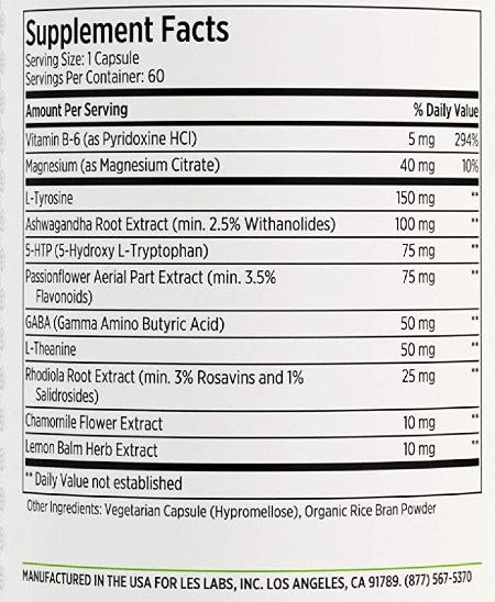 LES Labs Mood Boost Ingredients