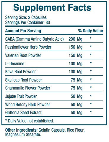 Serelax Ingredients Label & Facts