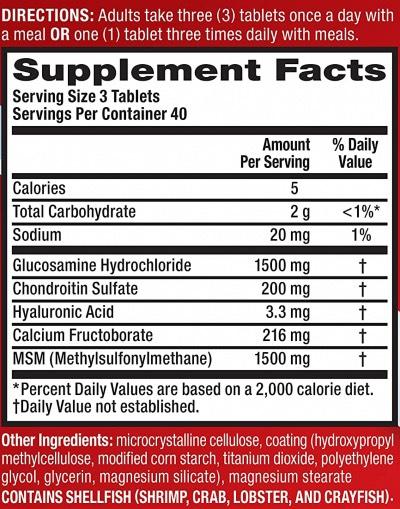 Move Free Advanced Plus MSM Ingredients List