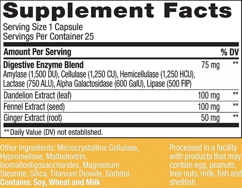 Olly Beat the Bloat Ingredients Label, Facts, and Information